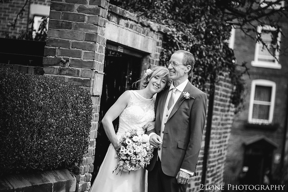 Bride and her Father at St Cuthbert's Church, Durham.  www.2tonephotography.co.uk