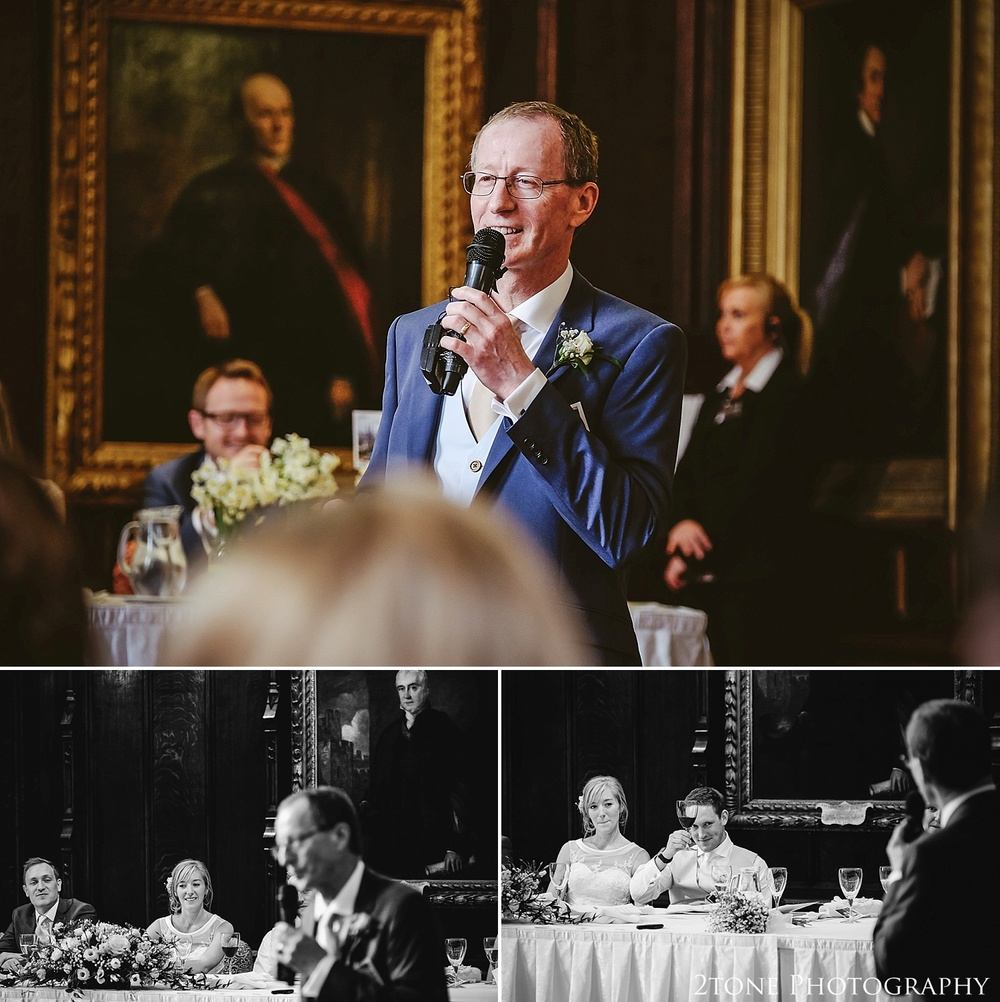 Father of the Bride's speech.  Durham Castle.  Durham wedding photography by wedding photographers www.2tonephotography.co.uk