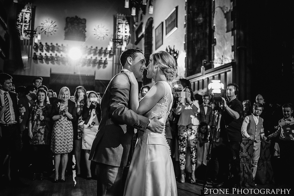 Bride and Groom first dance in Durham Castle.  Durham wedding photography by wedding photographers www.2tonephotography.co.uk