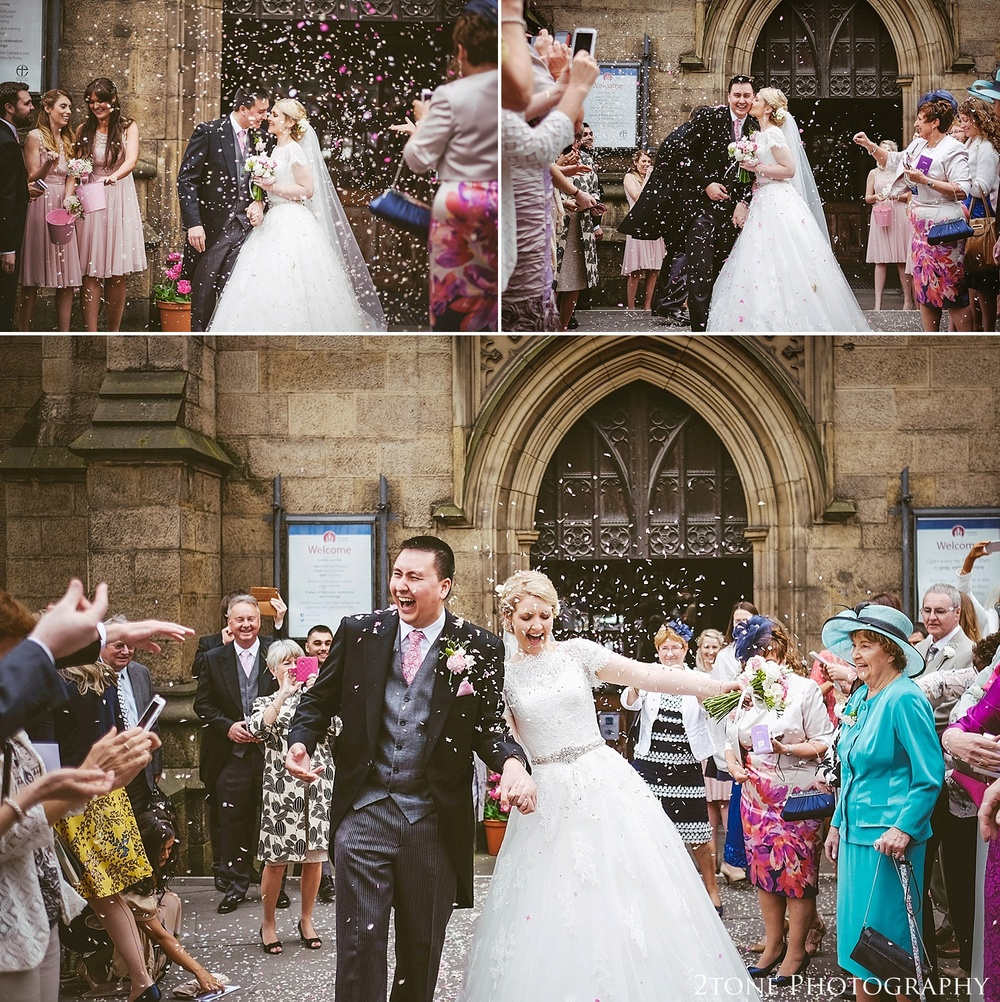 Wedding confetti.  Newcastle and Beamish Hall Wedding Photography by www.2tonephotography.co.uk