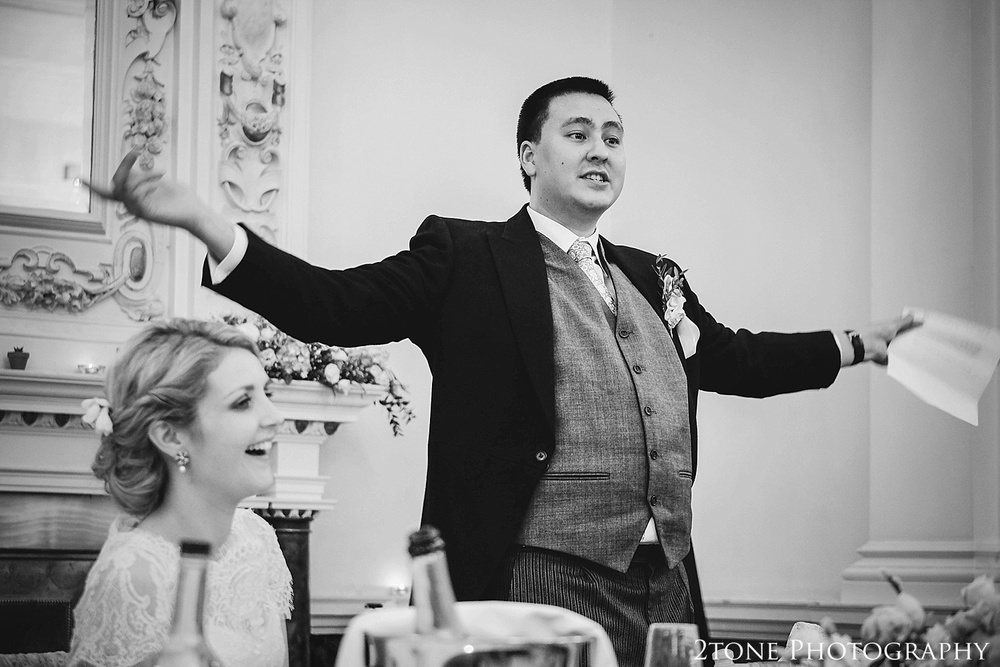 Groom's speech, Beamish Hall.  Newcastle and Beamish Hall Wedding Photography by www.2tonephotography.co.uk
