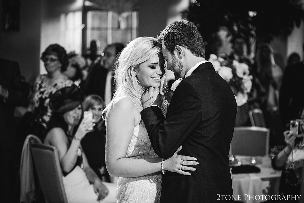 Bride and Groom's wedding day first dance. Natural wedding photography.  Wynyard Hall wedding photography by www.2tonephotography.co.uk