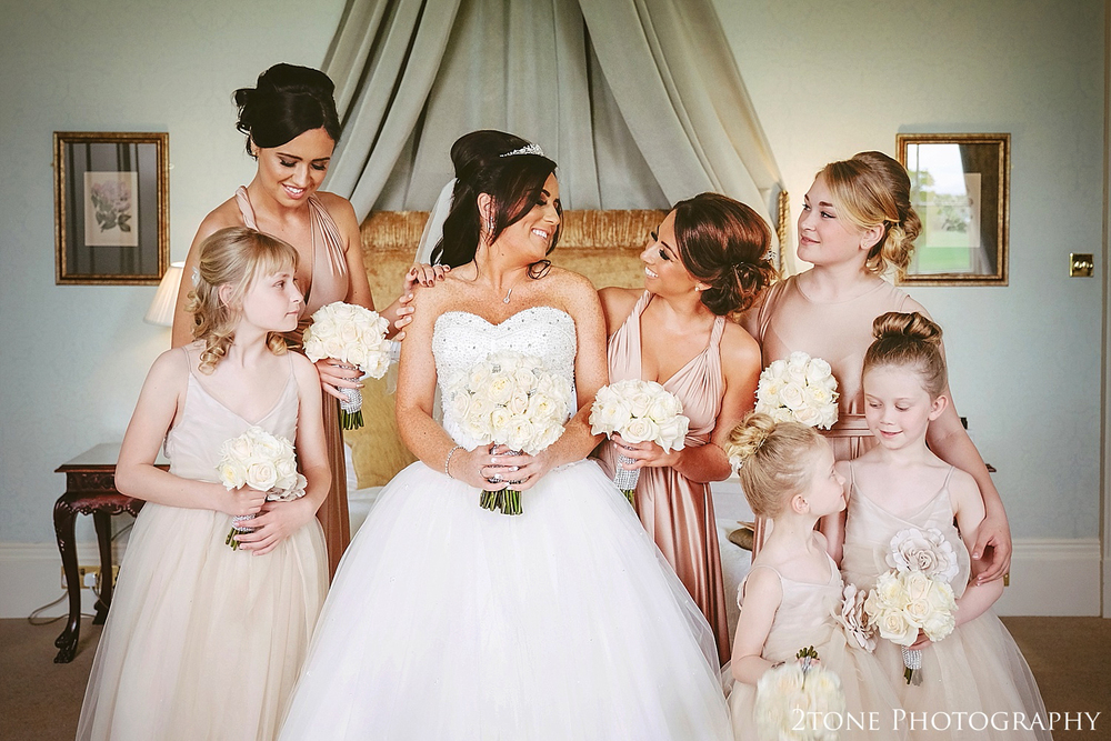 Bride and Bridesmaids at Wynyard Hall by Newcastle and Durham based Wedding Photographer www.2tonephotography.co.uk