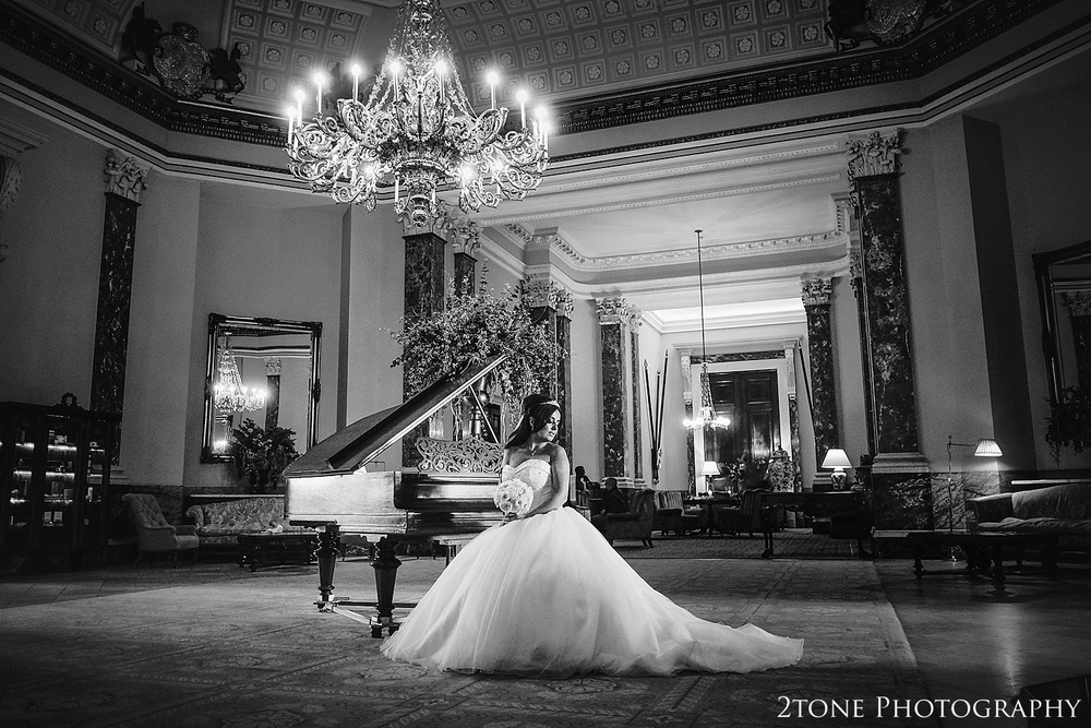 Bride in the Stature Gallery in Wynyard Hall by Newcastle and Durham based Wedding Photographer www.2tonephotography.co.uk