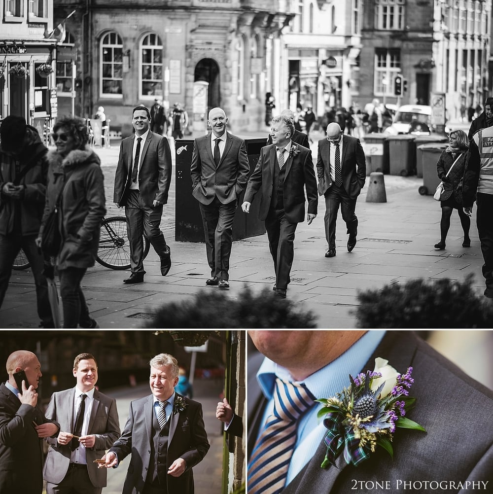 Grooms preparations in Edinburgh by 2tone Photography