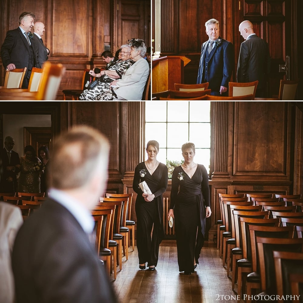 Bridesmaids procession down the aisle.  Wedding Photography at the Lothian Chambers in Edinburgh by 2tone Photography