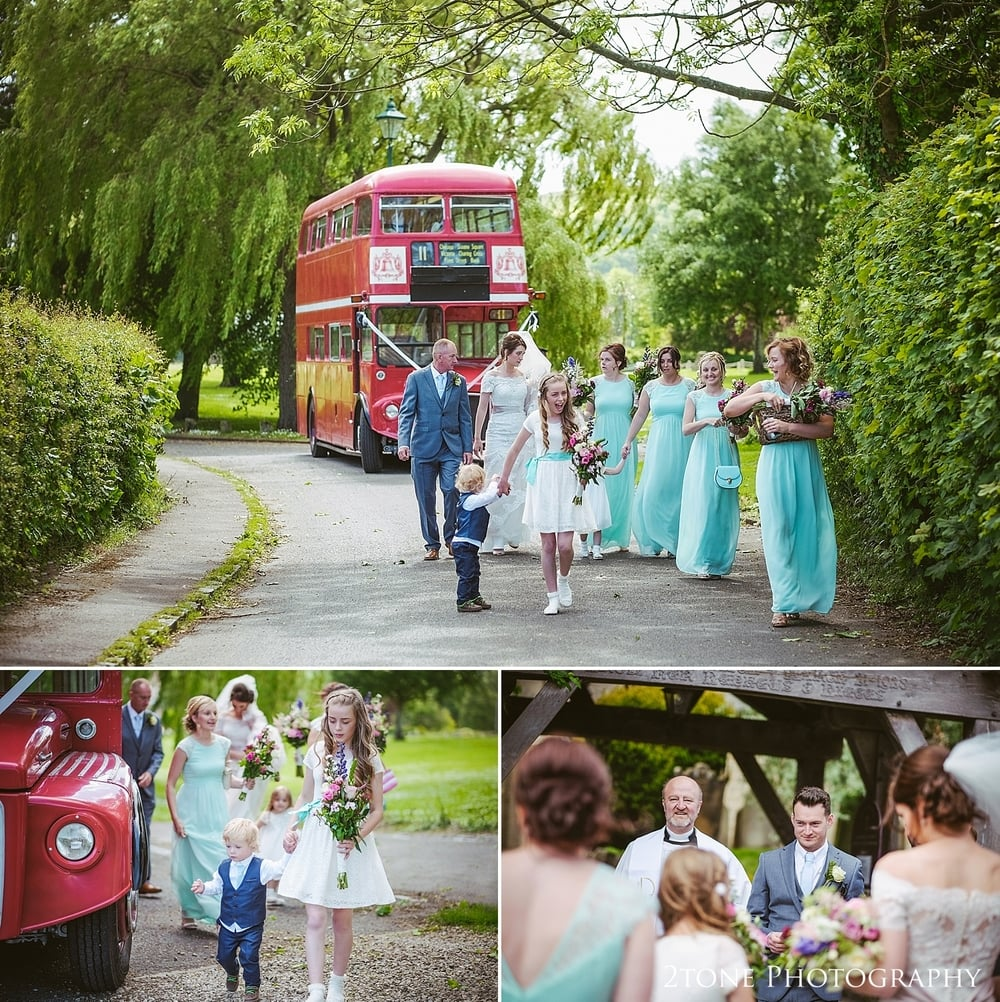 Bridal Party arrive at St Oswin's church in Newton under Roseberry by 2tone photography www.2tonephotograpy.co.uk