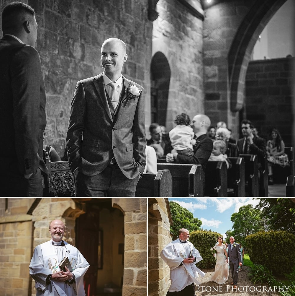 The groom in St Oswin's Church in Newton Under Roseberry by 2tone photography www.2tonephotograpy.co.uk