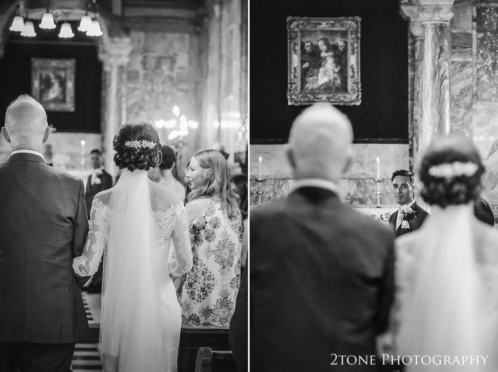 Chapel wedding ceremony at Wynyard Hall by Durham based wedding photographers www.2tonephotography.co.uk