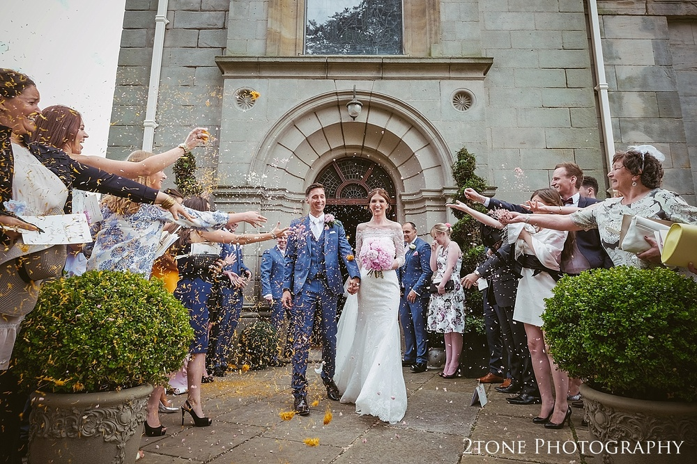 Wedding confetti at Wynyard Hall by Durham based wedding photographers www.2tonephotography.co.uk