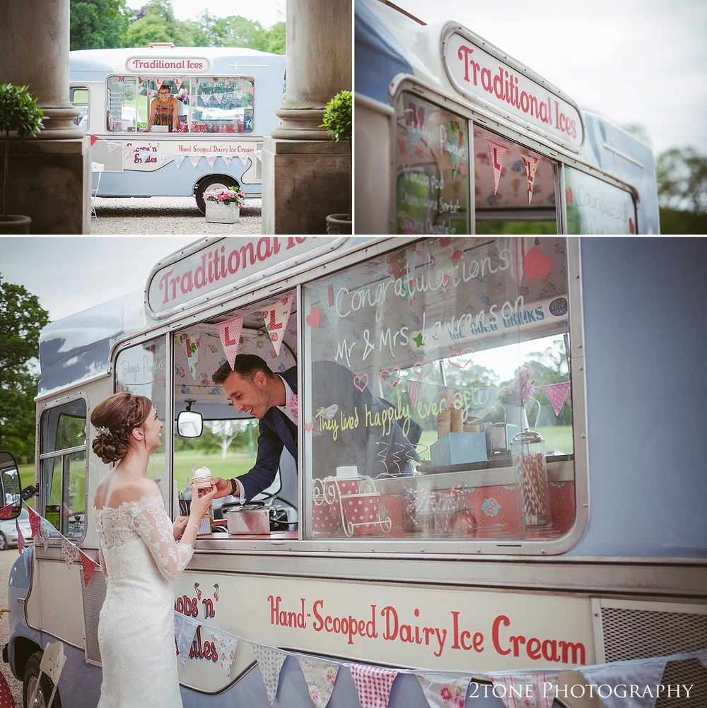 Ice Cream wedding van at Wynyard Hall by Durham based wedding photographers www.2tonephotography.co.uk