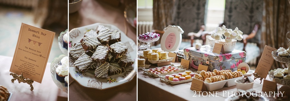 Wedding dessert bar at Wynyard Hall by Durham based wedding photographers www.2tonephotography.co.uk