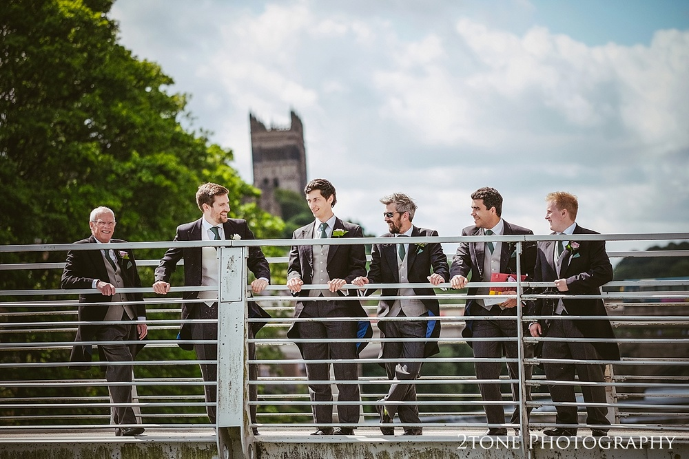 Groom and Groomsmen in Durham.  Natural wedding photography in Durham by Durham based wedding photographers www.2tonephotography.co.uk