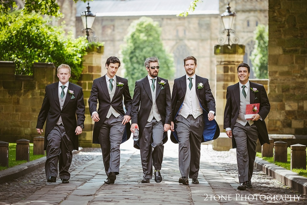 Groomsmen in Durham.  Natural wedding photography in Durham by Durham based wedding photographers www.2tonephotography.co.uk