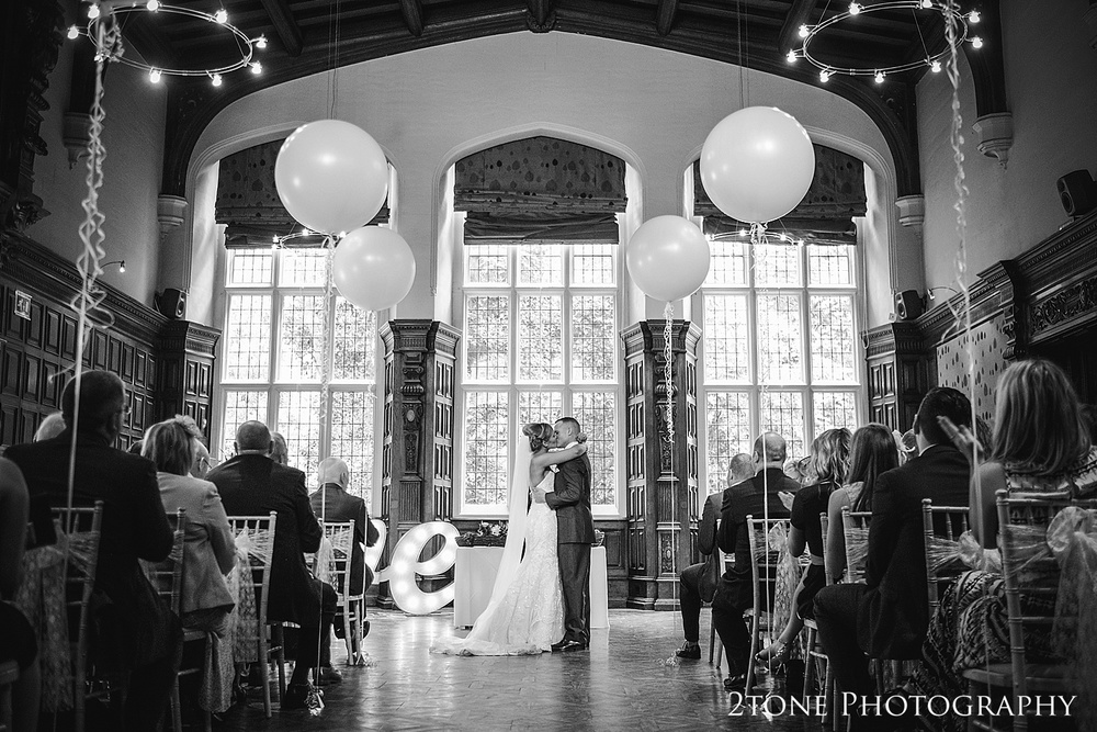 A wedding ceremony with balloon decorations at Jesmond Dene House in Newcastle by 2tone Photography www.2tonephotography.co.uk