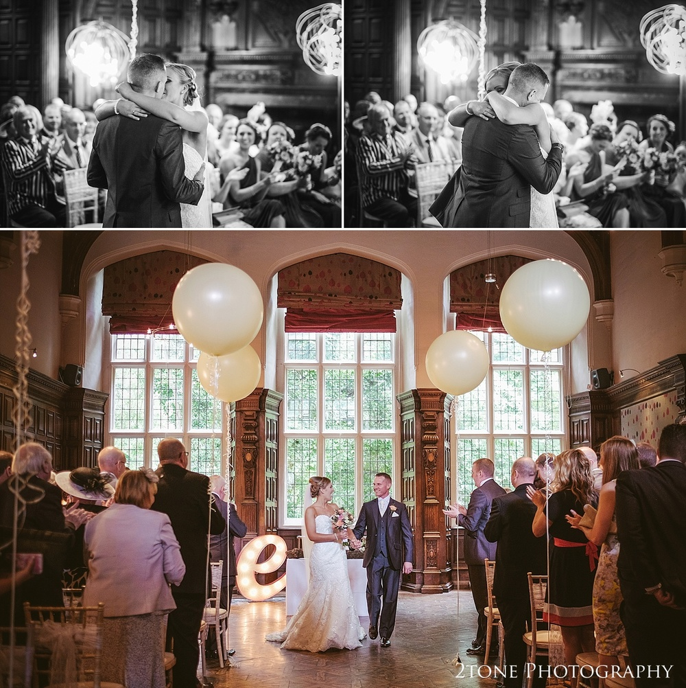 A wedding ceremony with balloons at Jesmond Dene House in Newcastle by 2tone Photography www.2tonephotography.co.uk