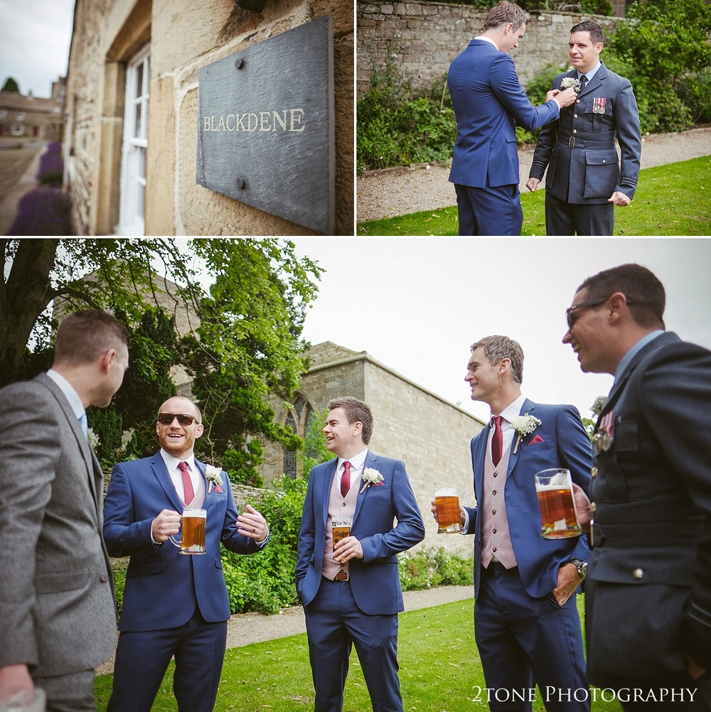 The groom and groomsmen at the Lord Crewe Arms by wedding photography team 2tone Photography www.2tonephotography.co.uk