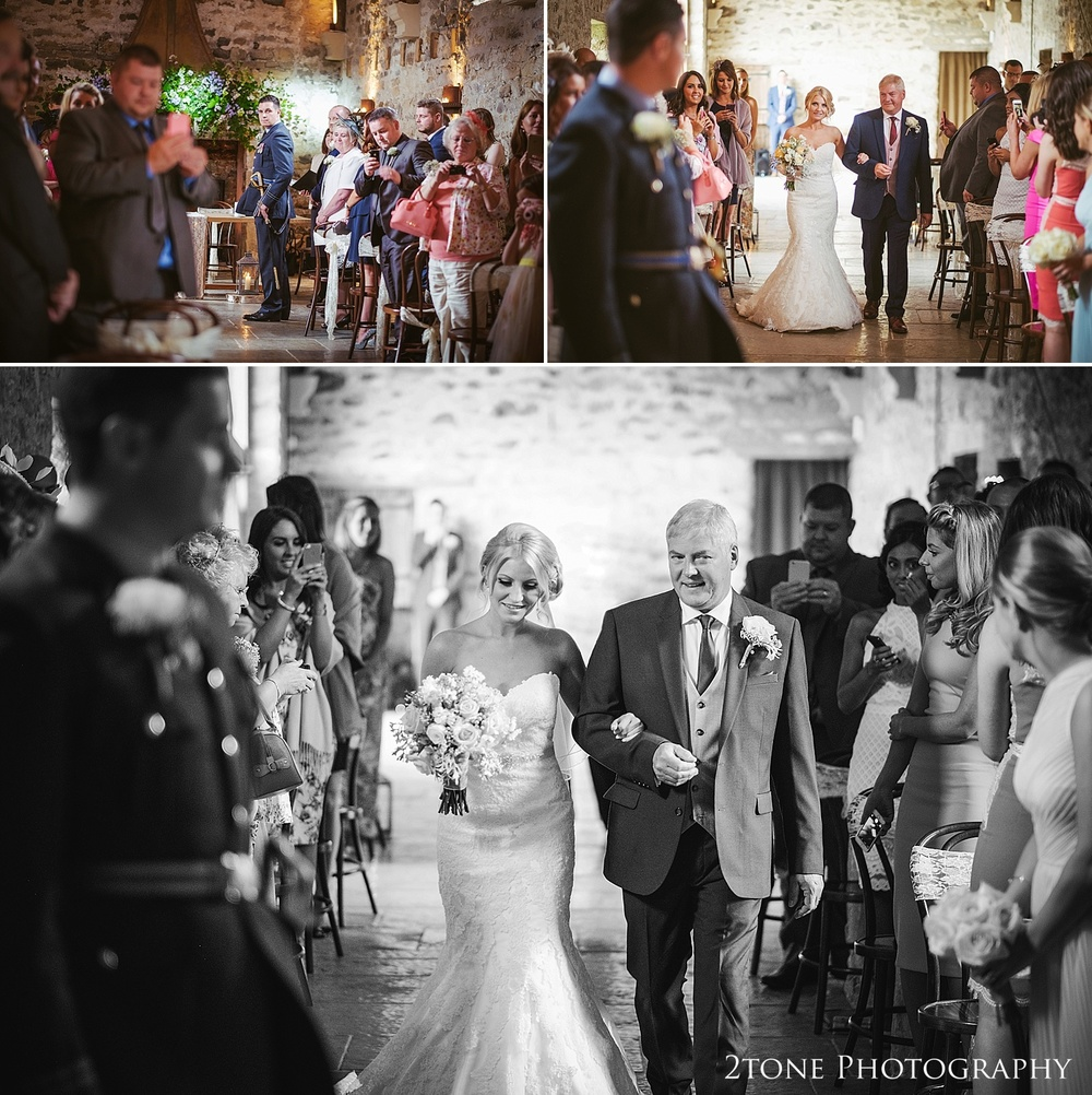 The bride and her father at wedding venue Healey Barn by wedding photography team 2tone Photography www.2tonephotography.co.uk