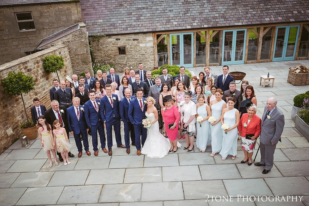 Group shot at Healey Barn by wedding photography team, 2tone Photography www.2tonephotography.co.uk