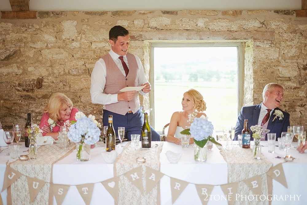 Wedding breakfast at Healey Barn by wedding photography team, 2tone Photography www.2tonephotography.co.uk