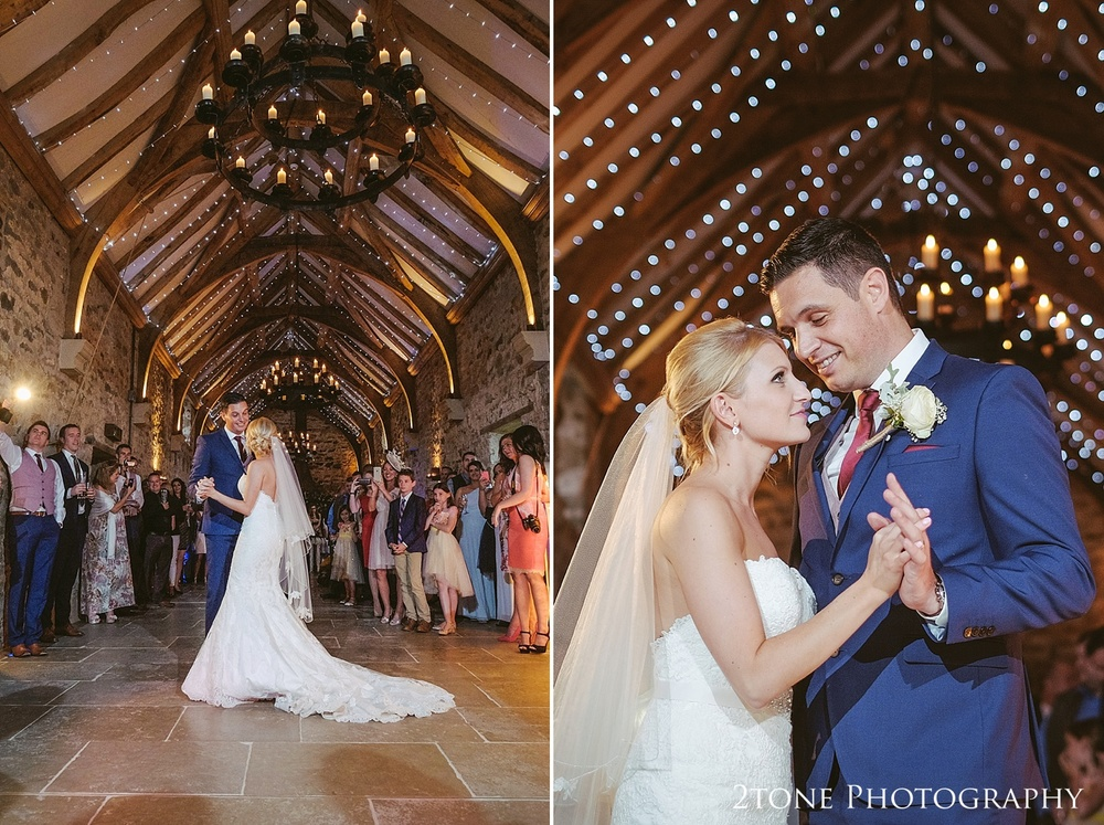 The bride and groom's first dance at Healey Barn by wedding photography team, 2tone Photography www.2tonephotography.co.uk