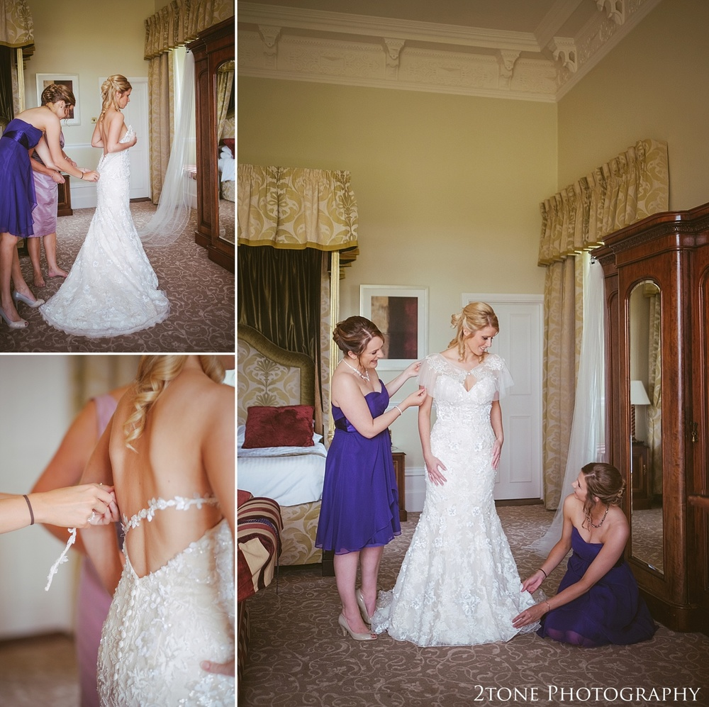 Bridal preparations.  Wedding photography at Matfen Hall by wedding photographer www.2tonephotography.co.uk