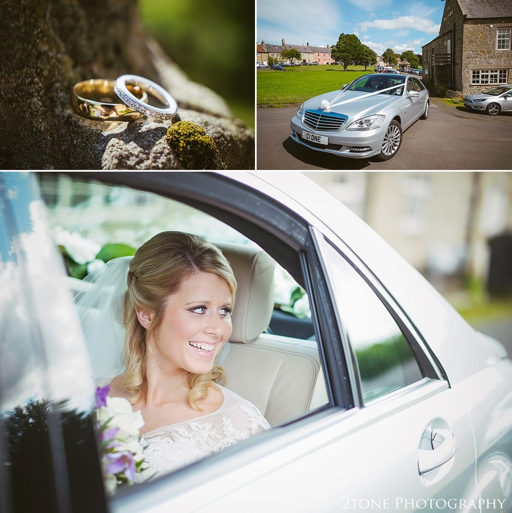 Bride arriving to Stamfordham Church.  Wedding photography at Matfen Hall by wedding photographer www.2tonephotography.co.uk