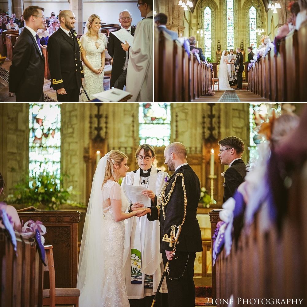 Stamfordham church wedding ceremony.  Wedding photography at Matfen Hall by wedding photographer www.2tonephotography.co.uk