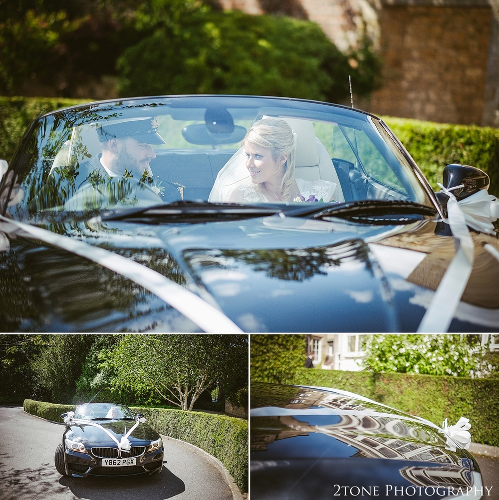 Wedding car in Northumberland.  Wedding photography at Matfen Hall by wedding photographer www.2tonephotography.co.uk