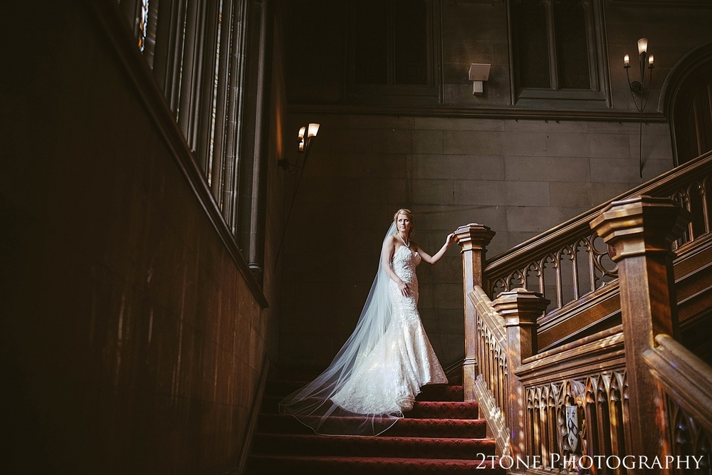 The bride in the great hall.  Wedding photography at Matfen Hall by wedding photographer www.2tonephotography.co.uk