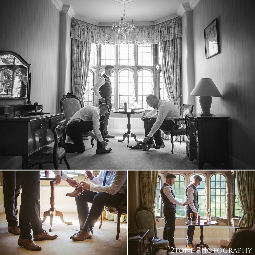 Groom getting ready at Guyzance Hall.  Wedding photography at Guyzance Hall by wedding photographers www.2tonephotography.co.uk
