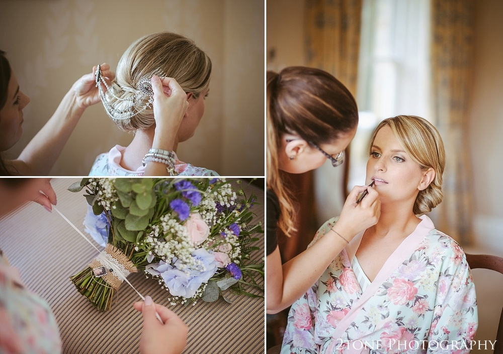 Bridal preparations.  Wedding photography at Guyzance Hall by wedding photographers www.2tonephotography.co.uk