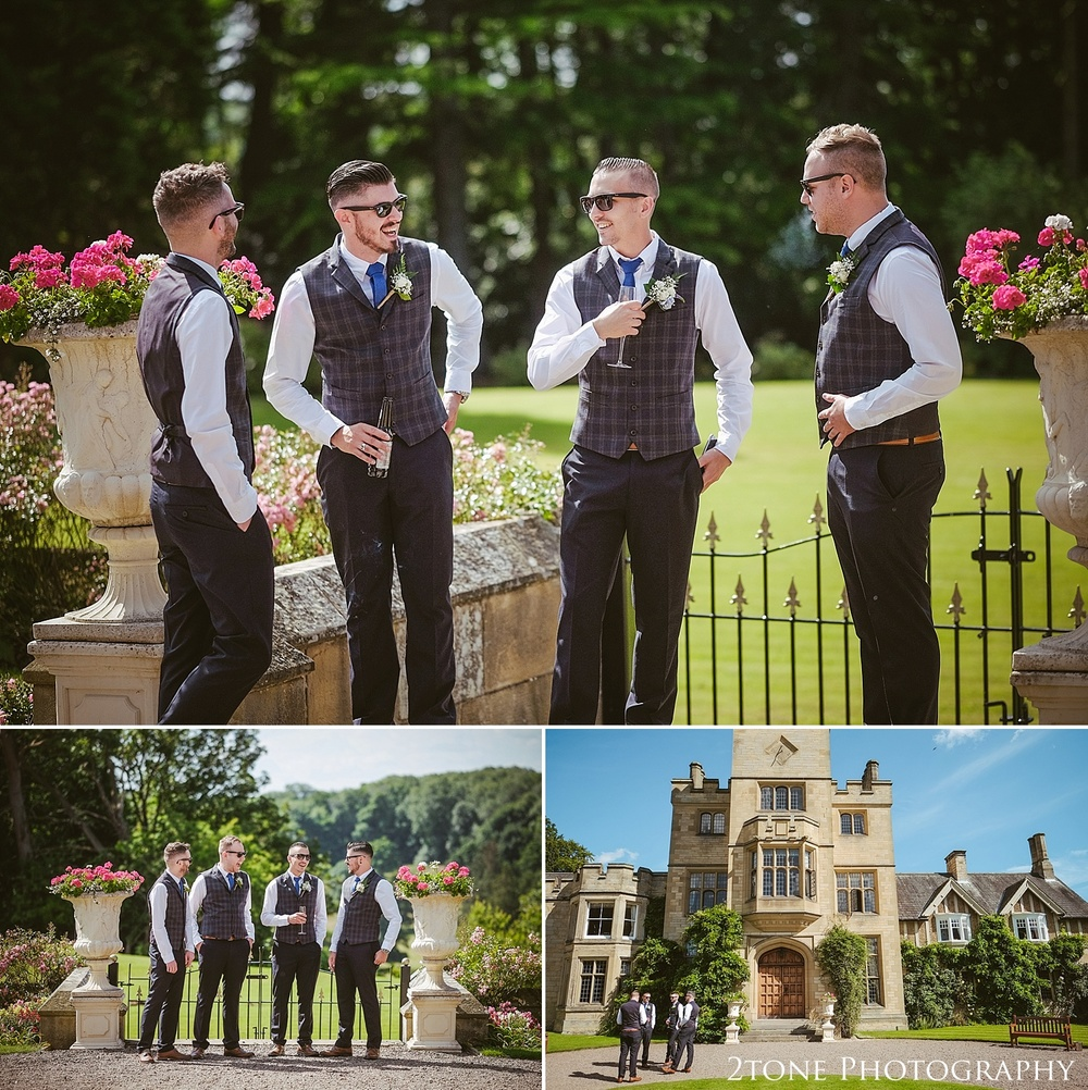 The groom and groomsmen.  Wedding photography at Guyzance Hall by wedding photographers www.2tonephotography.co.uk