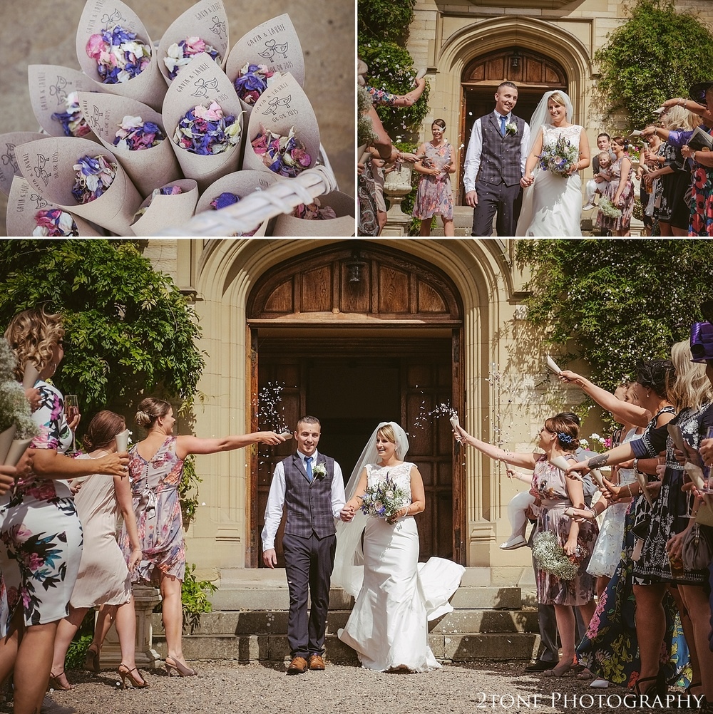 Wedding confetti.  Wedding photography at Guyzance Hall by wedding photographers www.2tonephotography.co.uk