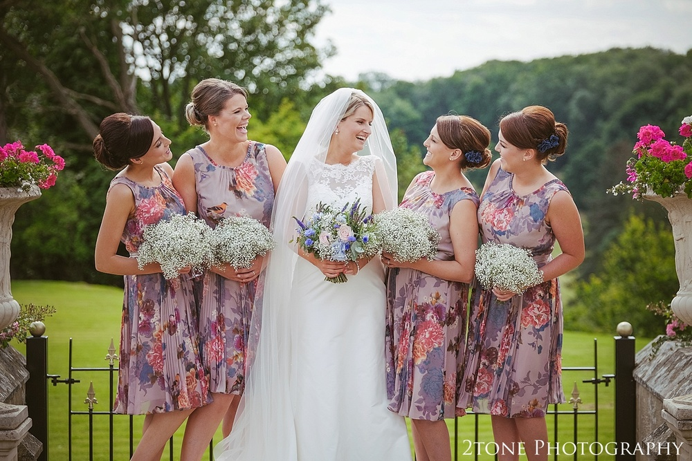 Colourful bridesmaids.  Wedding photography at Guyzance Hall by wedding photographers www.2tonephotography.co.uk
