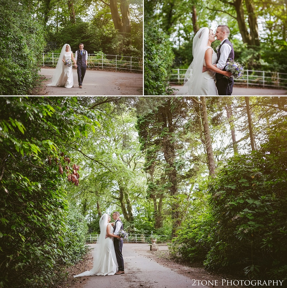 Wedding photographs in the woods.  Wedding photography at Guyzance Hall by wedding photographers www.2tonephotography.co.uk