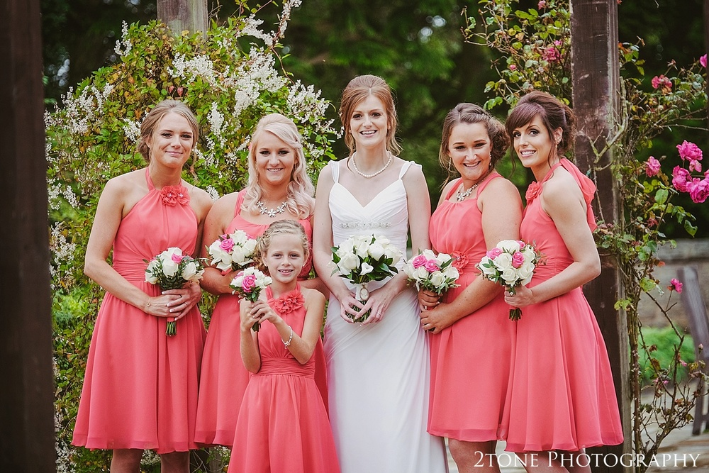 The bride and bridesmaids.  Slaley Hall wedding photography by wedding photographers 2tone Photography.  www.2tonephotography.co.uk