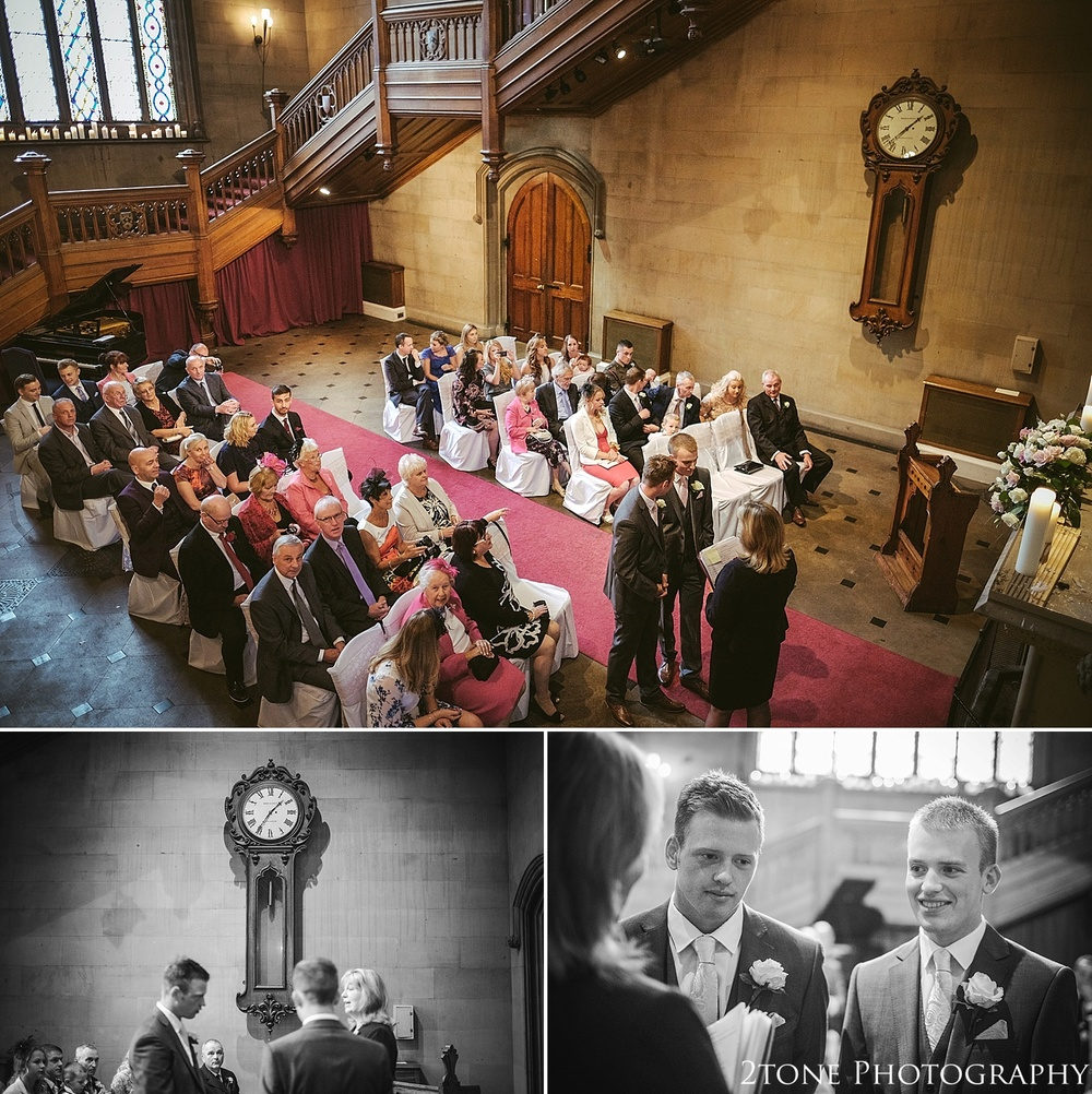 The Great Hall wedding ceremony.  Matfen Hall by Durham based wedding photographers 2tone Photography
