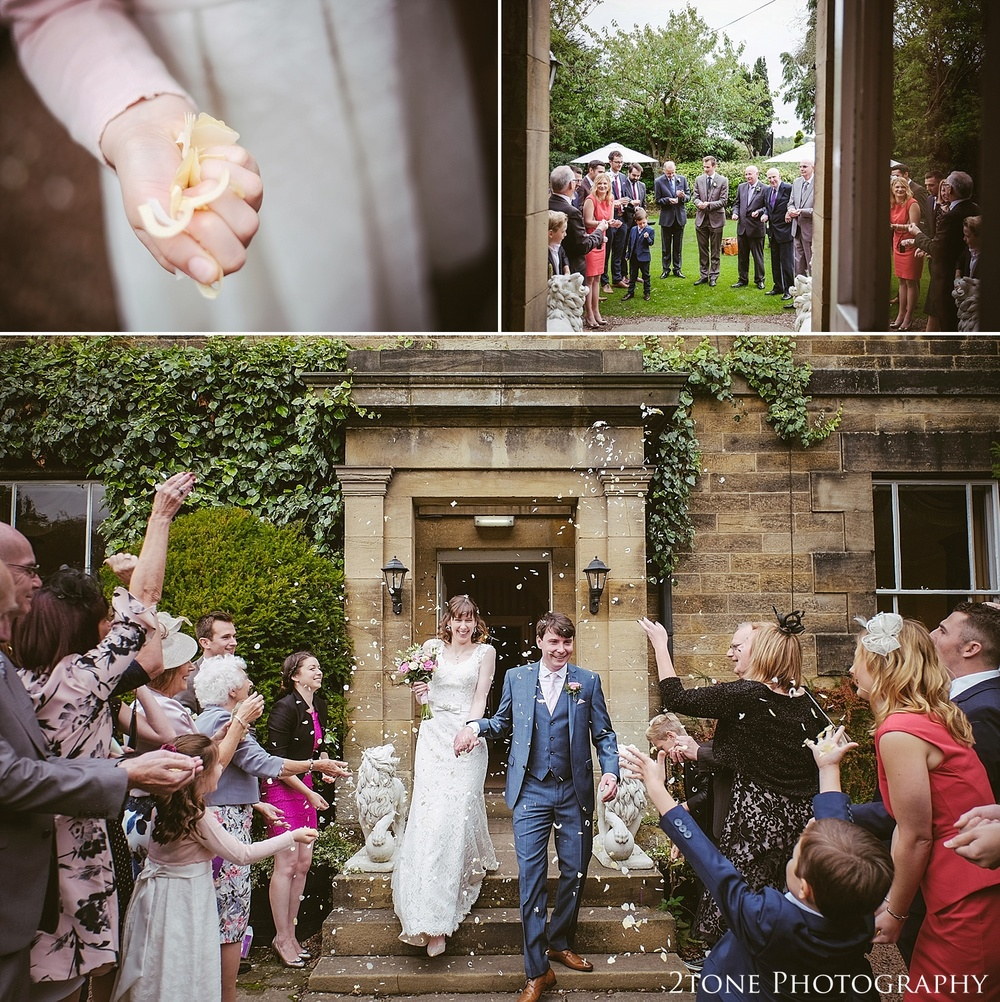 Wedding confetti.  Wedding Photography at Horton Grange by wedding photographers in Durham www.2tonephotography.co.uk