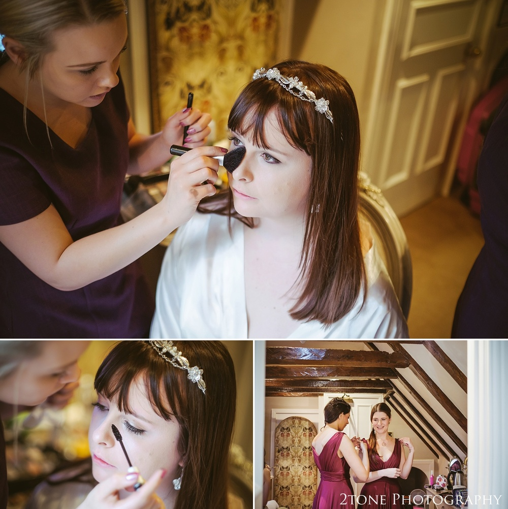 Bride getting ready.  Wedding photography at Lumley Castle by Durham photographer 2tone photography www.2tonephotography.co.uk
