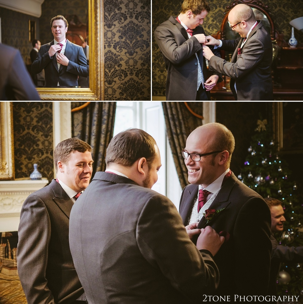 Groom getting ready.  Wedding photography at Lumley Castle by Durham photographer 2tone photography www.2tonephotography.co.uk