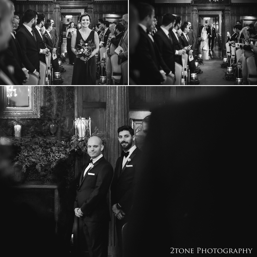 A wedding ceremony at Ellingham Hall. Winter wedding photography by www.2tonephotography.co.uk