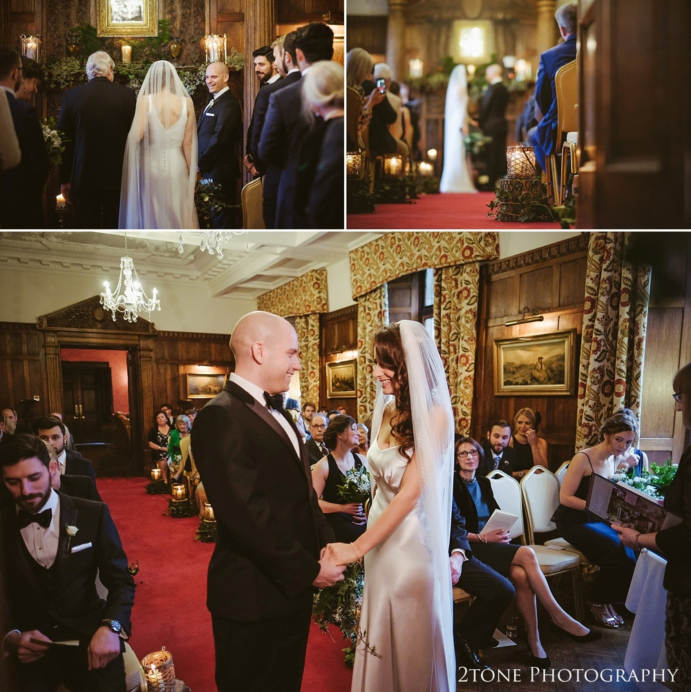 Wedding ceremony at Ellingham Hall. Winter wedding photography by www.2tonephotography.co.uk