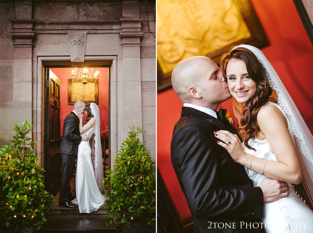 Wedding couple photographs at Ellingham Hall. Winter wedding photography by www.2tonephotography.co.uk