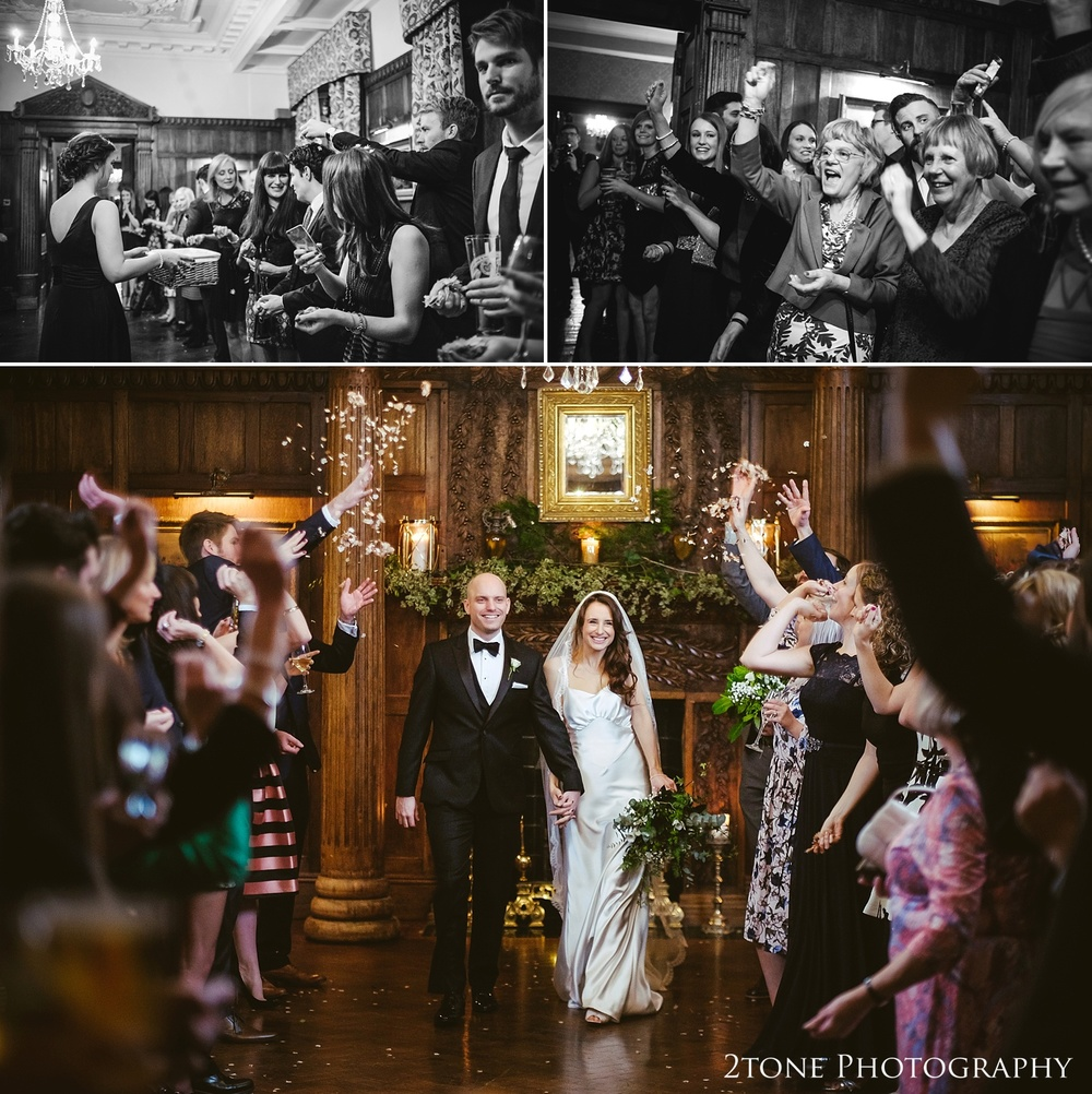 Wedding confetti at Ellingham Hall. Winter wedding photography by www.2tonephotography.co.uk