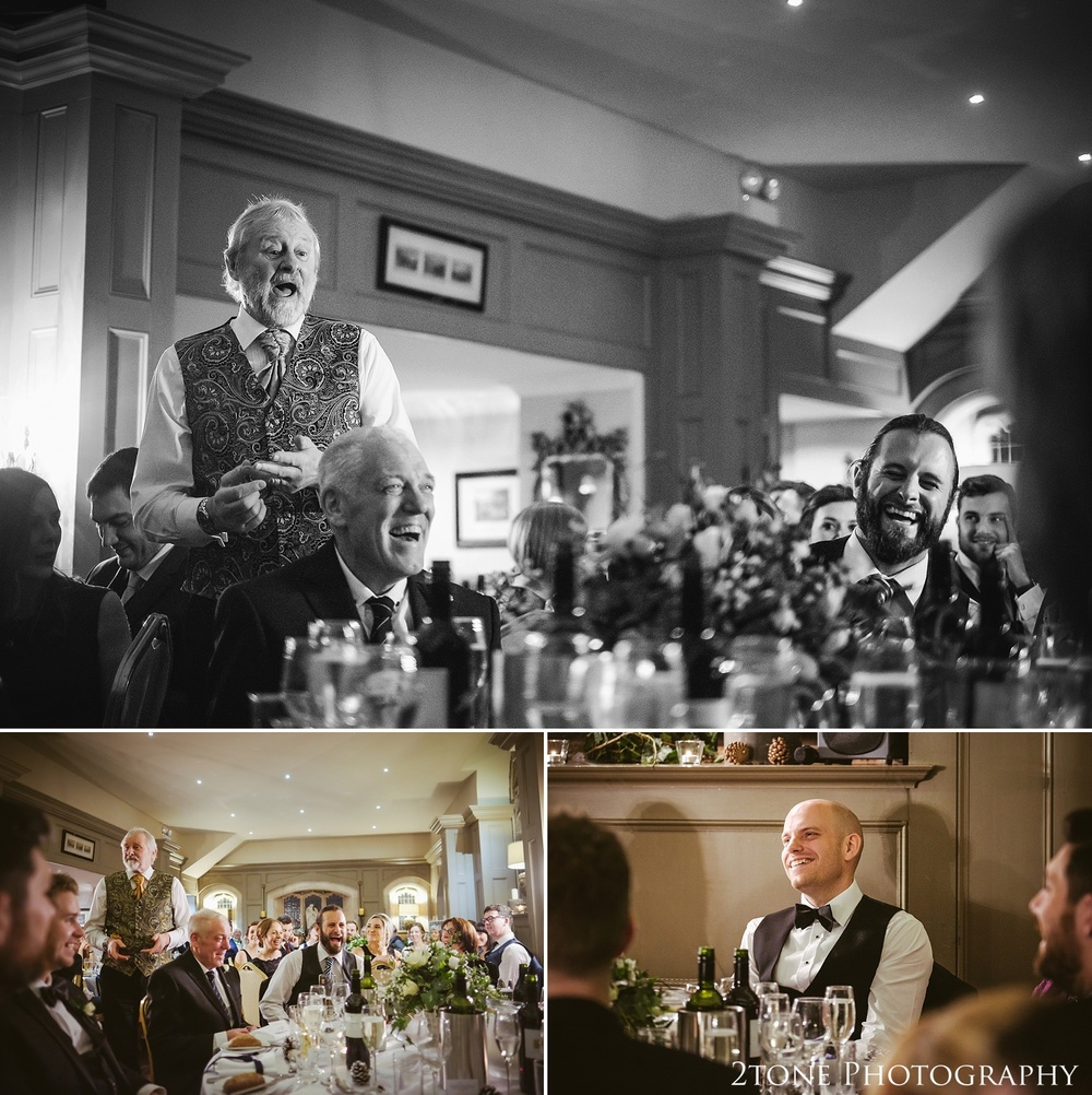 Father of the bride wedding speech at Ellingham Hall. Winter wedding photography by www.2tonephotography.co.uk