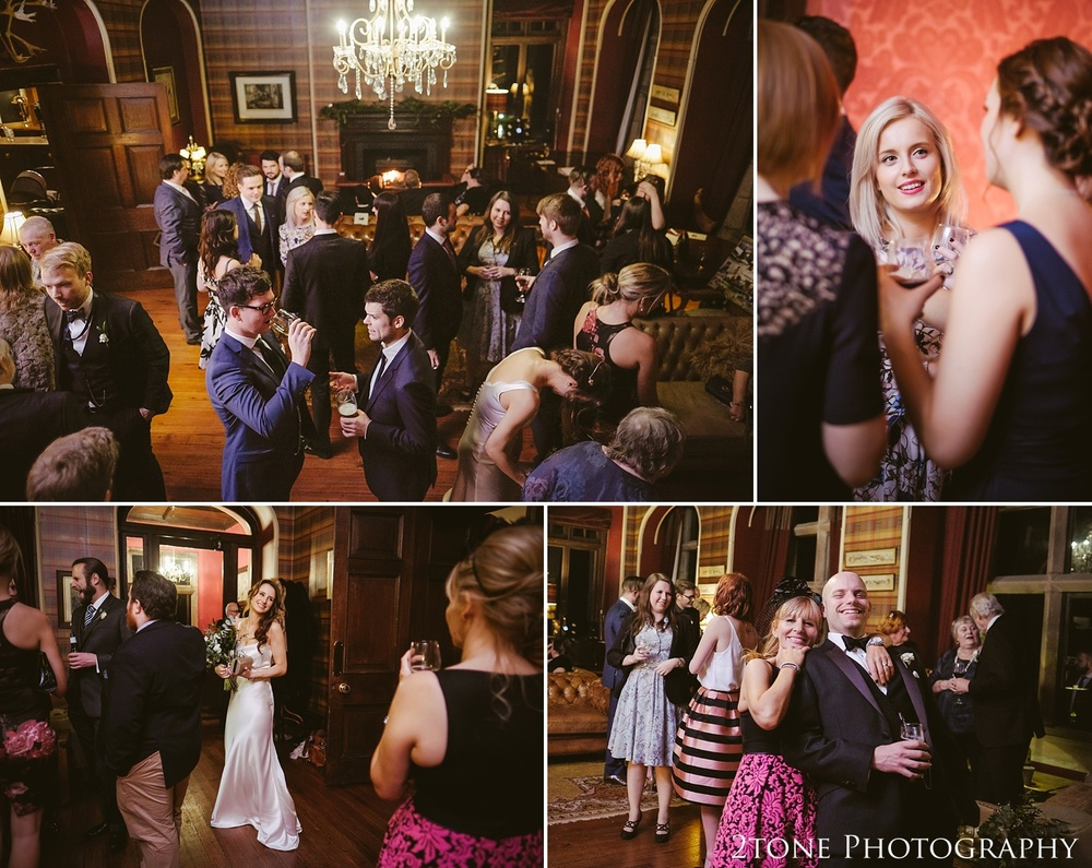 Wedding guests at Ellingham Hall. Winter wedding photography by www.2tonephotography.co.uk
