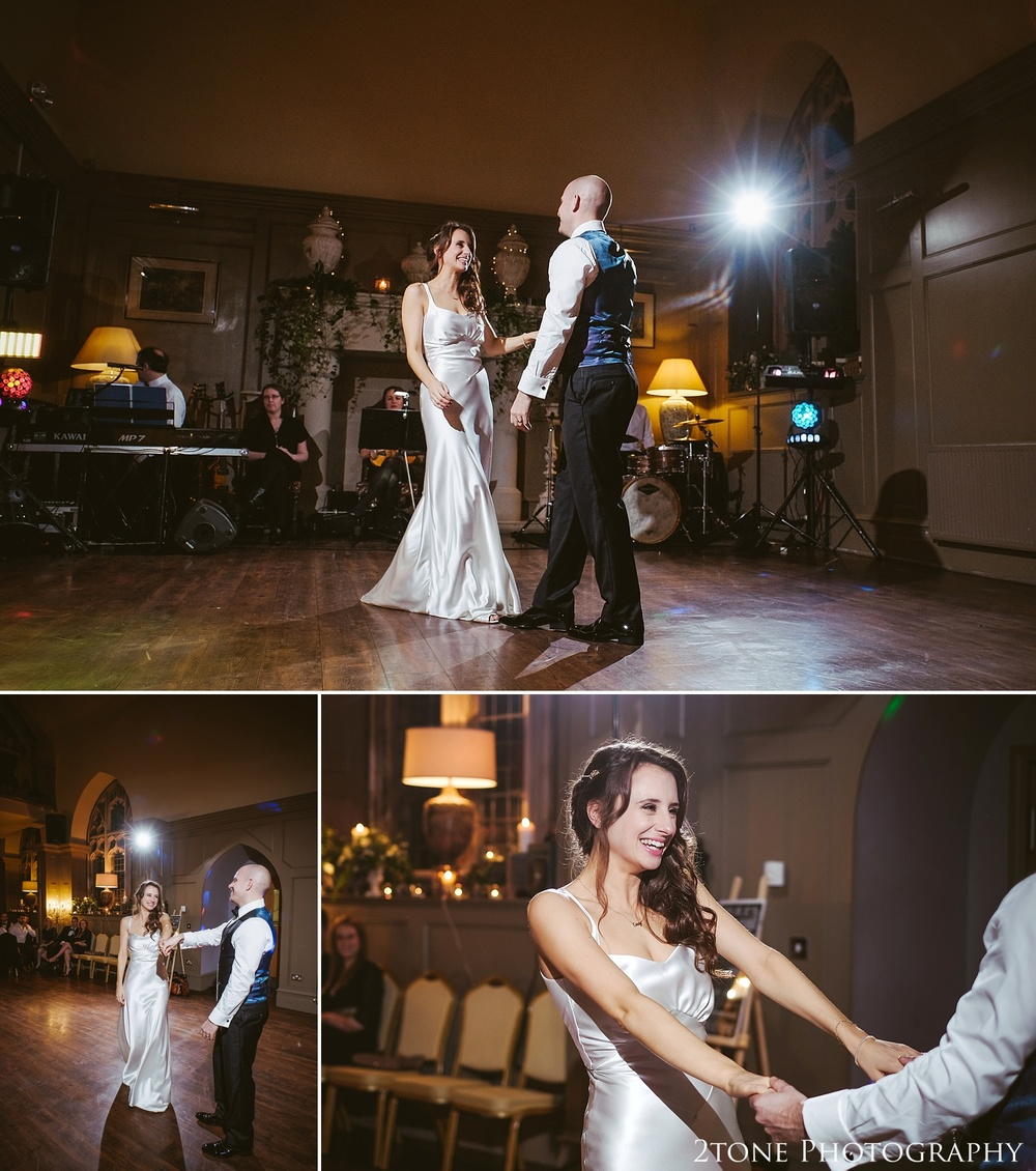 First dance wedding photography at Ellingham Hall. Winter wedding photography by www.2tonephotography.co.uk