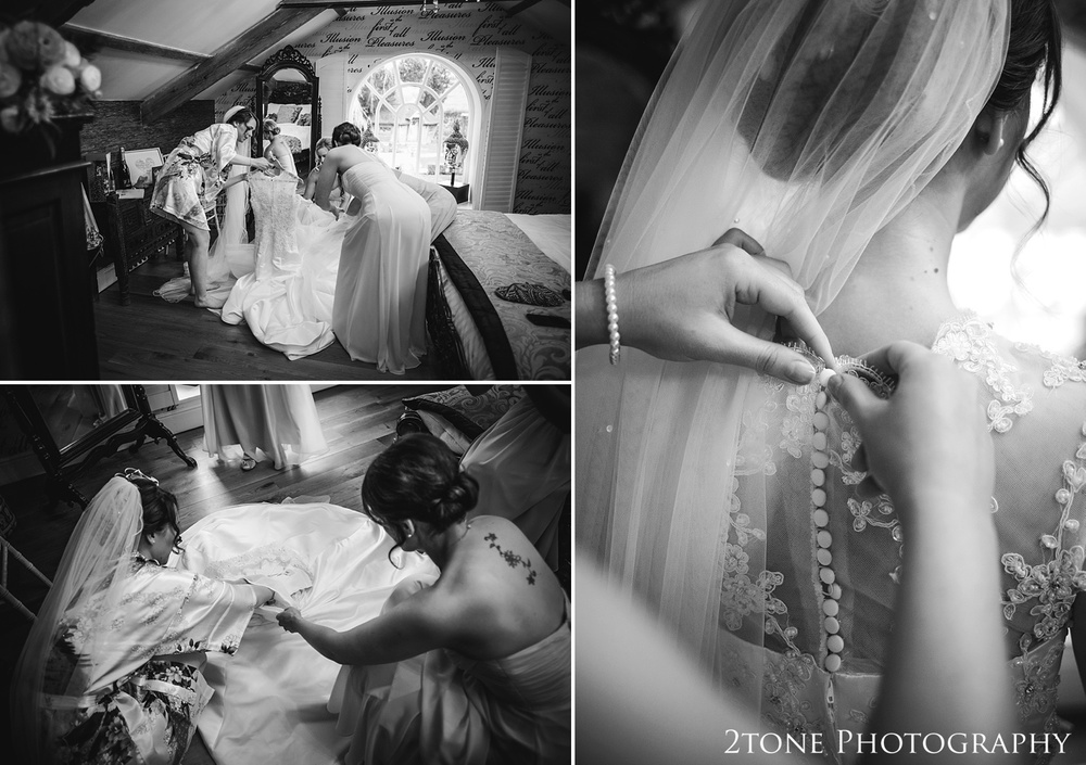 The bride getting ready at Woodhill Hall.  Wedding photography in Northumberland by www.2tonephotography.co.uk