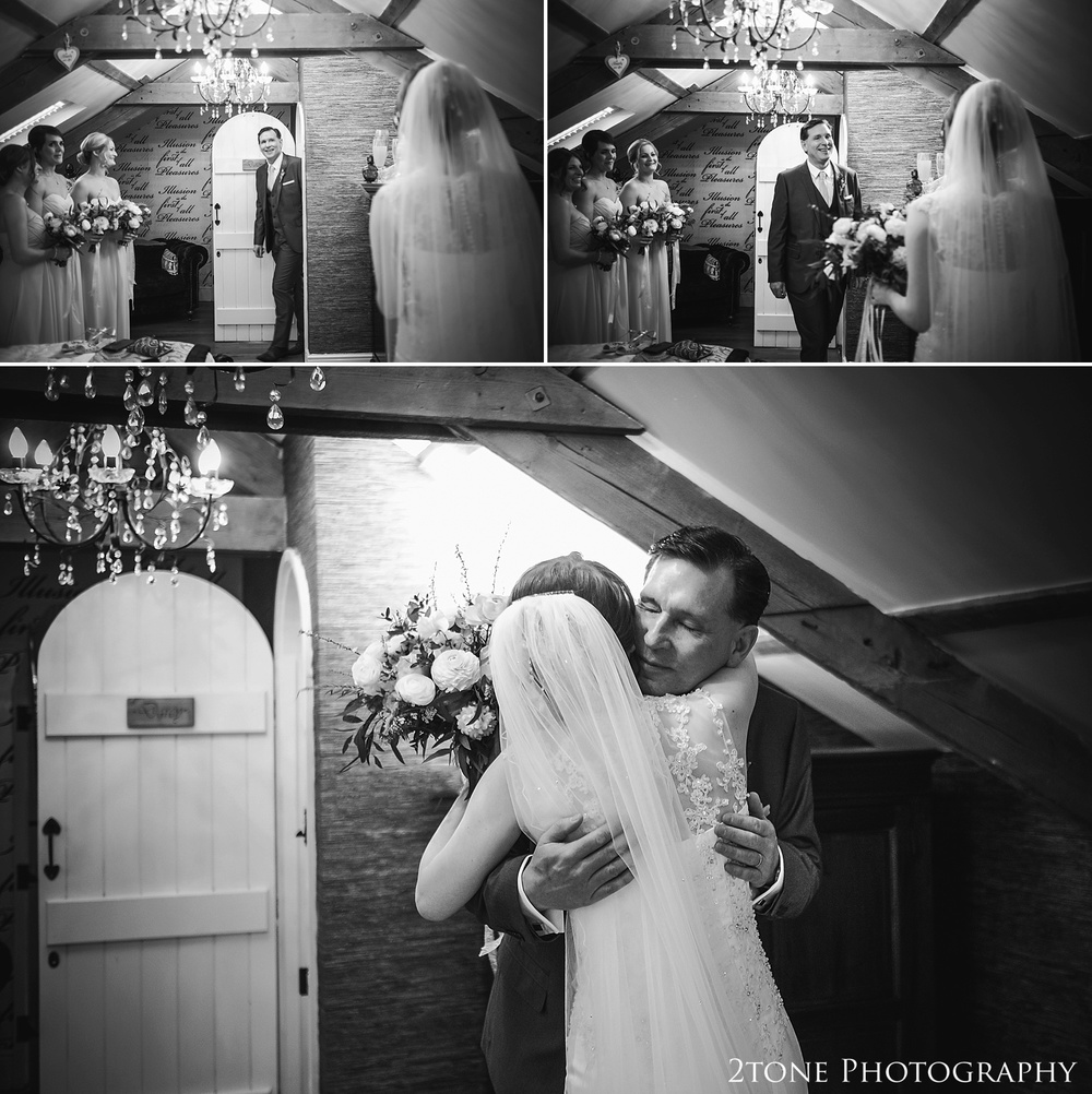 The bride and her father at Woodhill Hall.  Wedding photography in Northumberland by www.2tonephotography.co.uk